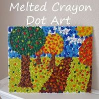 Helping Little Hands: Melted Crayon Art and Pointillism + Books #kids #crafts
