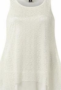 Dorothy Perkins Womens Izabel London Cream Crochet Overlay Top- Cream sleeveless top. Rounded neckline and a layered hem. No fastening. Length 76cm. 85% Nylon,15% Elastane. Cold hand wash separately. Do not dry clean. http://www.comparestoreprices...