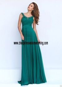 Chic scoop neckline and A-line silhouette Ruched Bodice Colored Beaded Emerald Prom Dress