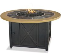 LP GAS OUTDOOR FIREBOWL WITH SLATE AND FAUX WOOD MANTEL GAD1362SP $529.99