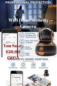 You Save:	$50.00 (50%) [New 2019] FullHD 1080p WiFi Home Security Camera Pan/Tilt/Zoom - Best Rated Smart App, Work with Alexa - Wireless IP Indoor Surveillance System - Night Vision, Motion Track'�'�'