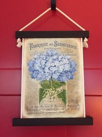 Blue Hydrangea Wall Hanging -French Country Vintage Style (small) $35.00