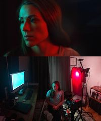Here's a computer and a red t-shirt lighting a scene.