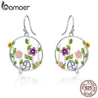 BAMOER Genuine 925 Sterling Silver Blooming Forest Birds Secret Drop Earrings for Women Sterling Silver Earrings Jewelry SCE480 $27.98