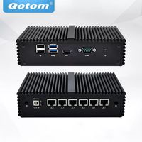 QOTOM Mini Pc Intel Core I5-7200U 8GB DDR4 256GB SSD 6 Gigabit Ethernet Machine Micro Industrial Q555G6 Multi-Network Port