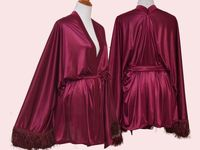 Satin tassel kimono, plus size robe, Burgundy cardigan, Satin cardigan, large size kimono, maroon robe, red wine robe, Merlot wedding robe $39.99