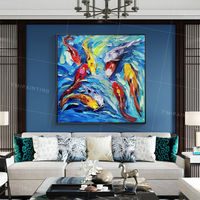 Framed paintings on Canvas animal painting Koi Fish palette knife oil painting blue art Wall Pictures heavy texture fengshui wall art $109.00