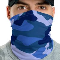 Neck Gaiter Face Mask Blue Camo Unisex Neck Gaiter Multi-functional Bandana Face Mask Headband Balaclava Beanie Face Cover $17.95