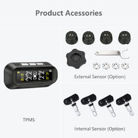 Solar USB TPMS Car Tire Pressure Monitor System LCD 4 Sensor Stick To The Glass
