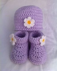 """Baby's Hat & Booties Set (Archived) By Loops & Threads�""""� Design Team - Free Crochet Pattern - (ravelry)"""