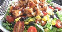 BBQ ranch chicken salad...I do a similar version with southwest dressing, but bet the hubby would love the bbq! From picky-palate.com, lots of other great recipes!