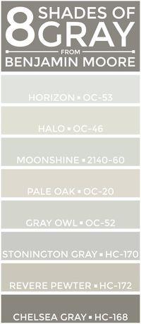 SEE THEM HERE: Horizon (OC-53) | Halo (OC-46) | Moonshine (2140-60) | Pale Oak (OC-20)Gray Owl (OC-52) | Stonington Gray (HC-170) | Revere Pewter (HC-172) | Che