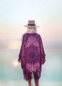 Purple Tassel Printed Beach Bikini Coverup Beach Cardigan Smock $24.00