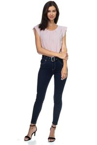 Denim High Rise Belted Pants $30.01