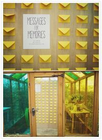 """yellow envelope message area - """"When walking through this little greenhouse, guests were asked to grab a card, write a message and place it inside an empty yellow envelope. Of course Susie wanted to jazz the space up a bit, so she added colored gell ..."""