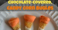 Chocolate Peanut Butter Candy Corn Bugles ~ looks cute and tastes awesome!