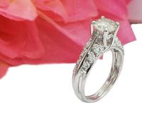 Moissanite Ring Engagement Ring Stackable Ring Diamond ring moissanite unique ring with F VVS diamonds on the sides made in 18K White Gold $1456.00