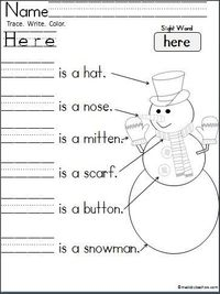 """This+is+a+free+Kindergarten+snowman+writing+page+for+practice+reading+and+writing+the+sight+word+""""Here"""".+ Students+trace,+write,+and+color.+ It's+a+wonderful+activity+for+any+winter+month.+"""