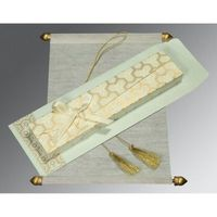 Delight your guests with the royal Scroll Wedding Cards made out of fine wooly paper. The whimsical hues of white color furthermore exaggerate the beauty of this wonderful wedding card. Not only the wedding card but the box covering it has been beautified...