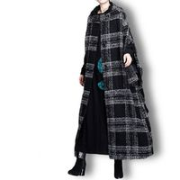 Winter Plaid Wool Coat, Cashmere Coat, Black and gray grid Women Coat, Plus Size Clothing, Long Coat, Hooded Winter Clothing