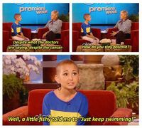 Aww!! I just saw on Ellen today 10/17/12 this little girl is back in the hospital and not doing well. Praying for her!!!