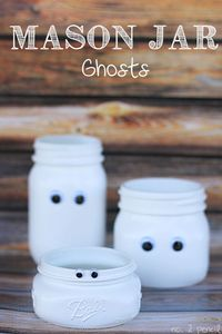 These Mason Jar Ghosts are adorable and the perfect Halloween Mason Jar Craft.