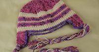 PreSchool Size Braided Ear Flap Hat by The Crochet Crowd, Free Pattern.