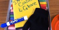 """How cool is this!! Use DVD cases with solid paper for mini """"white"""" boards...everybody gets a glove/sock for an eraser to store inside the case. Smart idea!"""