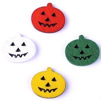 Pack of 50 Small Assorted Colours of Smiley Face Flat Round Wooden Pumpkins. 15mm x 17mm. Halloween, Scrapbooking, Cardmaking, Arts & Crafts £3.29