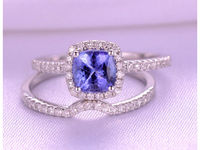2pcs Wedding Ring Set 1.2ct Cushion Cut Natural Tanzanite Engagement ring 14k White gold Curved diamond Matching Band Personalized for her