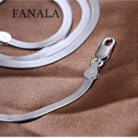 Silver Flat Snake Chain with Lobster Claw Clasp $10.00