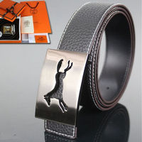 Hermes Constance Horse Belts Leather Palladium Hardware In Black