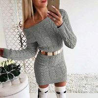 Drop Shoulder Cable Knit Warm Sweater Dress-Gray at www.fashionsqueen.com