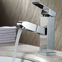 Multi-function Chrome Finish Brass Pull out Spray Bathroom Sink Faucet