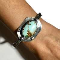 Natural Turquoise Sterling Silver Bracelet Cuff Vintage Styling $49.50