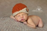Newborn Baby Orange Fold Over Wood Button Hat Crochet