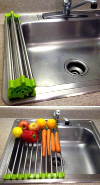 Stainless steel over the sink drying rack - rolls up for easy storage, great for rinsing vegetables or drying extra dishes! #product design