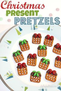 Christmas Present Pretzel Treats - These festive pretzel treats are a great party snack or a fun Christmas gift for for your neighbors.