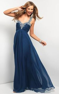 Long Navy Beaded One Shoulder Prom Dresses 2014