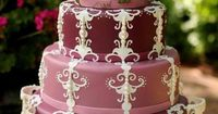 ivory on burgandy filigree cake