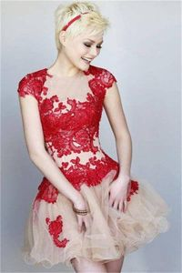 Floral Lace Nude Red Homecoming Dress Sherri Hill 11153
