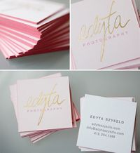 square business cards, gold foil