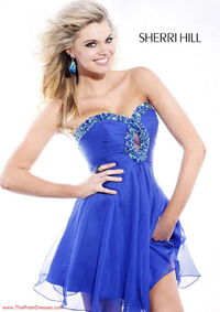 Royal Sequined Cutout Top Short Strapless Prom Dress