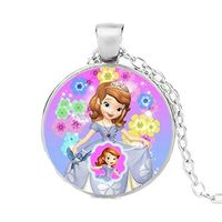 "Frozen's"" Anna"" as a Child on a Glass Carbacon Silver Necklace $18.99"