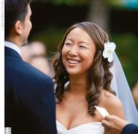 Idea for flower and veil in back. Annie�€˜s hair was done by Helen Mao of Chop Chop Salon in Los Angeles, CA.