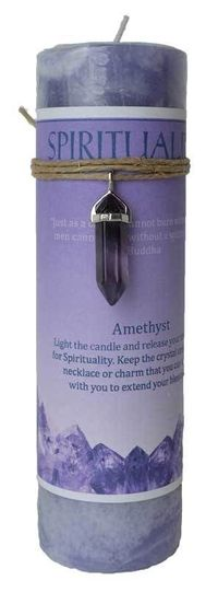 Look what's new! Spirituality Pillar Candle with Amethyst Pendant just in at The Ancient Sage!