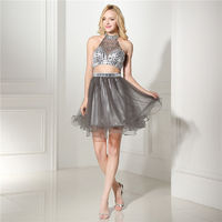 Silver Halter Beaded Open Back Chiffon Two Piece 8th Grade Homecoming Dress