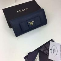 Prada 1M1132 Big Bow Saffiano Leather Wallet In Navy Blue