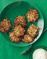 "Karen Bernhardt Toolan of Clifford Township, Pennsylvania, sent us this recipe for her twist on potato pancakes. She says, ""These are great as a side at dinner,"
