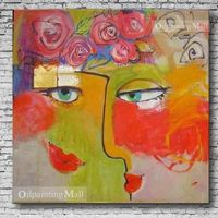 Hand Painted Abstract People Oil Painting On Canvas